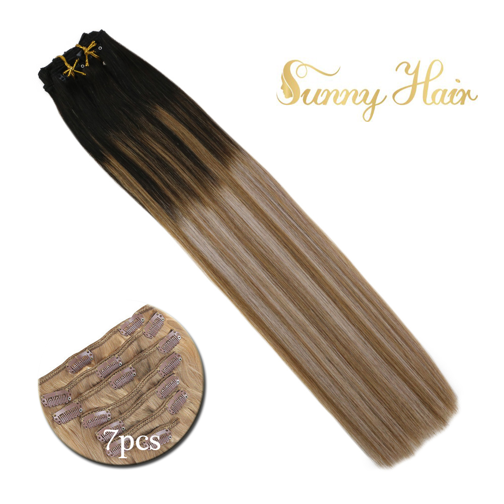 VeSunny Double Weft Clip In Hair Extensions Human Hair 7pcs Clip On Extensions Balayage Ombre Black To Brown Mix Blonde #1b/6/18