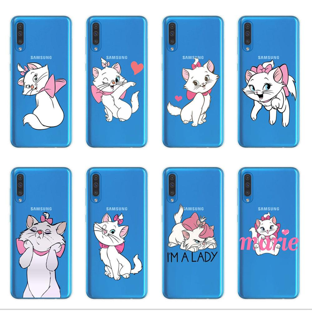 Cartoon Marie Cat Phone Cover For <font><b>Samsung</b></font> Galaxy A7 A9 A6 A8 Plus 2018 A10 A20 A30 A40 <font><b>A50</b></font> A70 A80 <font><b>2019</b></font> <font><b>Case</b></font> Coque Funda Shell image