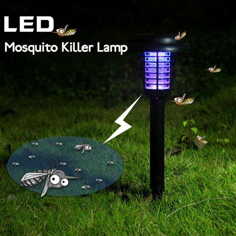 Solar Garden Light Outdoors Powered Energy LED Light Pest Bug Zapper Insect Mosquito Killer Lamp For Giving Garden Lawn Fly Bug