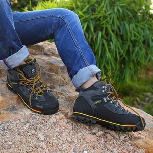 Image 2 - Zapatos de Montañismo hombre impermeable y antideslizante deportes resistente al desgaste cuero masculino Permeable ocio turístico y fácil montaña