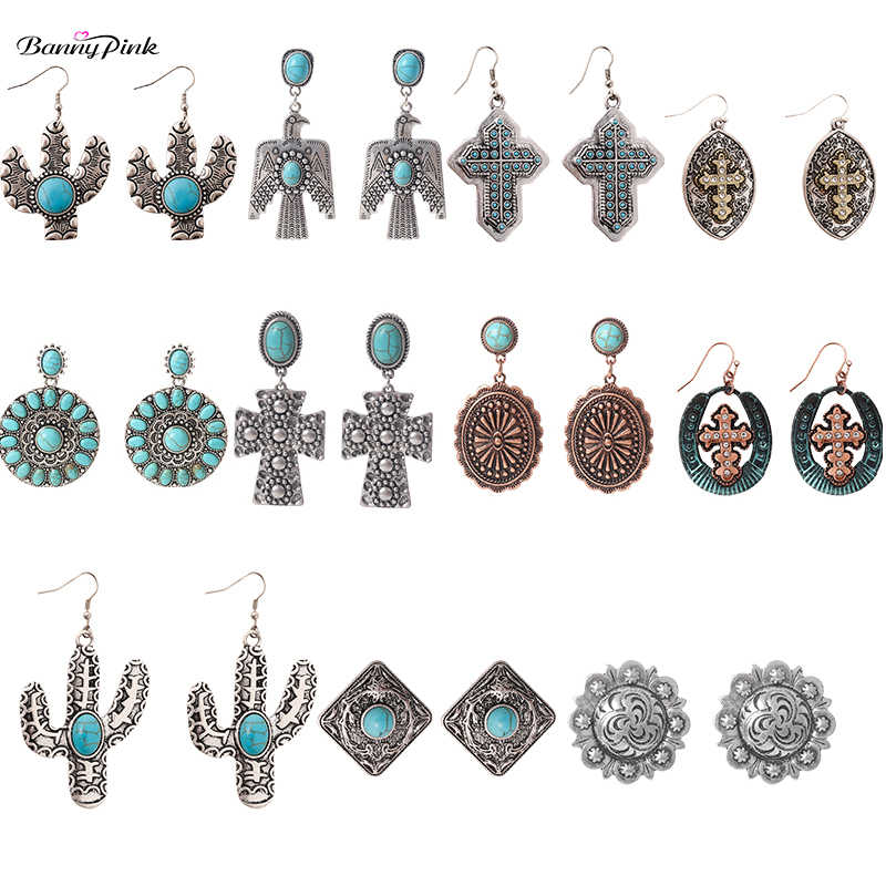 Banny Pink Tribal Eagle Cactus Sunflower Statement Earrings For Women Religious Cross Earrings Stone Pendant Earrings Brincos