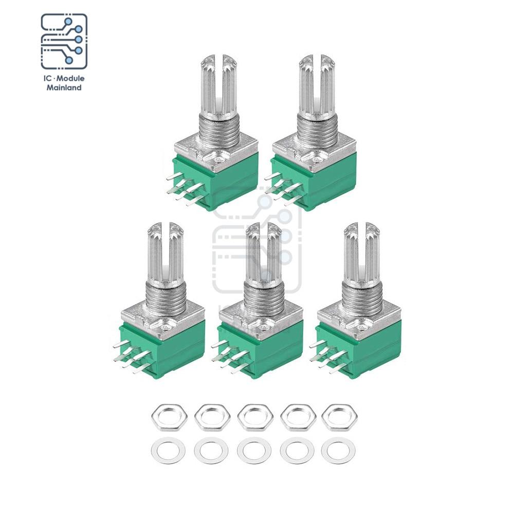 5 pçs/pçs/lote 6pin rotativa filme de carbono potenciômetro atarraxador 5k-100k ohm resistores variáveis dupla volta linear tipo b potenciômetro