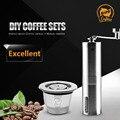 Многоразовые капсулы для кофе  капсулы для эспрессо  кофе или чай для Nespresso  кофеварка с ручной кофемолкой