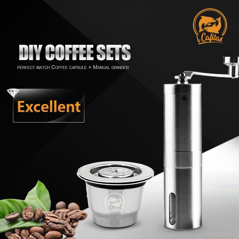 Reusable Coffee Capsule Pod Fillable Espresso Coffee or Tea for Nespresso Machines Maker with Coffee Manual Grinder|Coffee Filters| |  -