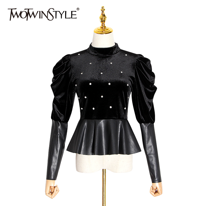 TWOTWINSTYLE Patchwork PU Leather Blouse Women Stand Collar Puff Long Sleeve Tunic Diamonds Ladies Tops Fashion Clothes 2020 New