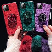 Para o iphone 12 mini 11 pro x xs max xr 7 8 plus caso de luxo mármore glitter titular caso para o iphone 7 8 6s mais se 2020 capa