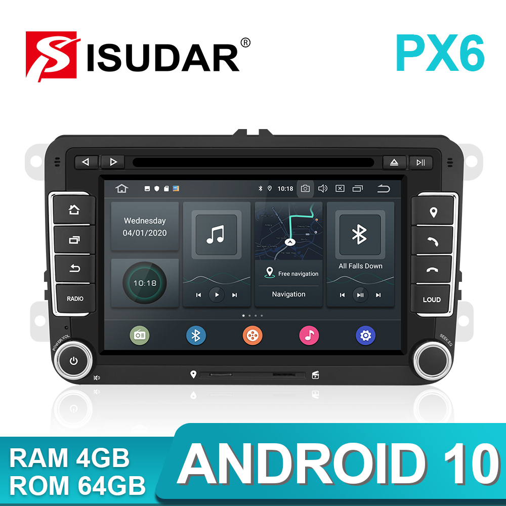 Isudar-Radio 2 Din Android 10 | Pour VW/Golf/Tiguan/Skoda/Fabia/rapide/siège/Leon Canbus voiture, lecteur multimédia, Automotivo GPS DVD DSP