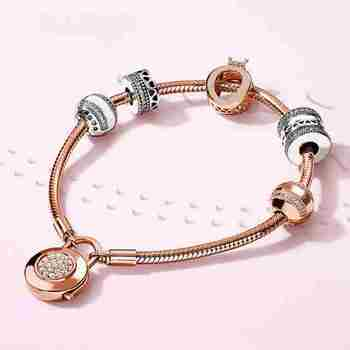 100% 925 silver sterling noble style luxury pink luxury gold lovers original female bracelet present jewelry