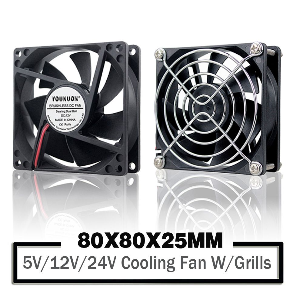 YONUON 5V <font><b>12V</b></font> 24V <font><b>80mm</b></font> 8cm Cooling <font><b>Fan</b></font> 80mmx80mmx25mm 8025 Oil/Ball <font><b>PC</b></font> Laptop Computer Case <font><b>Fan</b></font> DIY Router GPU CPU Cooling <font><b>Fan</b></font> image