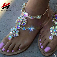 NAN JIU MOUNTAIN New Sandals Handmade Rhinestone Beaded Chain  Flat Bottom Roman Style Fashion Crystal Plus Size