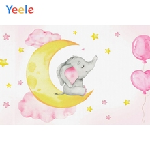 Baby Shower Elephant Backdrop Moon Star Newborn Girl Children Birthday Photography Background For Photo studio Photocall Props