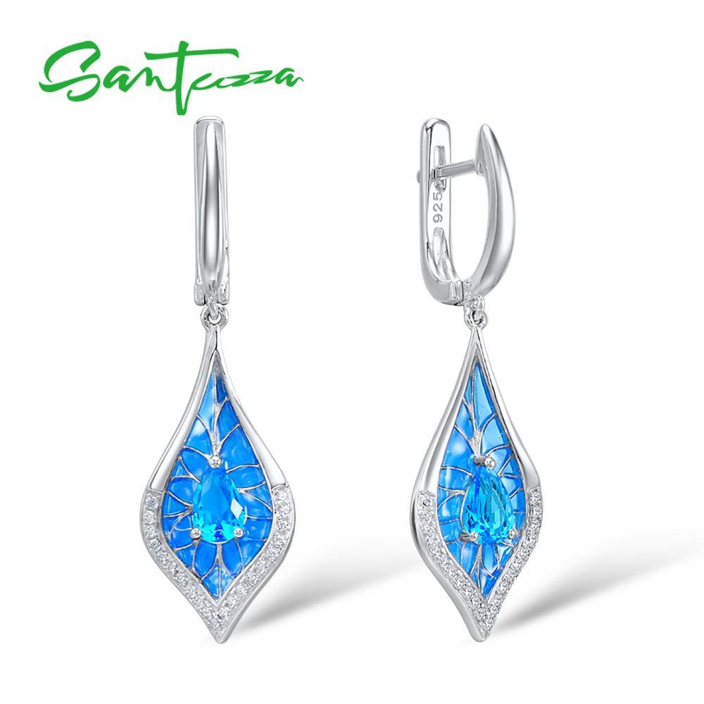 SANTUZZA Brincos de Prata Para As Mulheres Pure 925 Sterling Silver Sparkling Azul Brincos de Cristal Folha brincos Partido Jóias Finas
