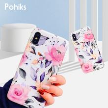 Pohiks Full Protective Flower Phone Cover For iphone X XR XS MAx Floral Leaf Soft Case Apple Max