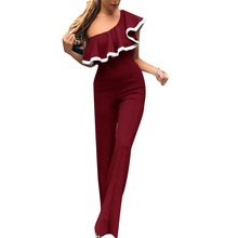 Fashion Rompers Womens Jumpsuit Sexy One-shoulder Ruffled Sleeves Jumpsuit Trousers Summer Women Clothes Macacao Feminino 2019 цена в Москве и Питере