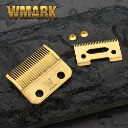 Wmark lâmina de corte cabelo sem fio profissional lâmina alta caixa aço clipper acessórios dourado para a escolha parafusos dourados