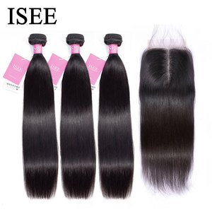 Image 2 - Straight Hair Bundles With Closure ISEE HAIR Remy Human Hair Bundles With Frontal Brazilian Hair Weave Bundles With Closure