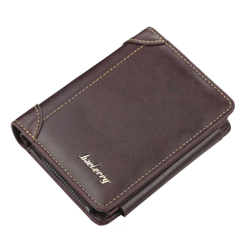 Short Men Wallet Soild Color Large Capacity Men's Wallets Male Small Clutch Bag  Zipper Hasp Coin Purse For Man Card Holder