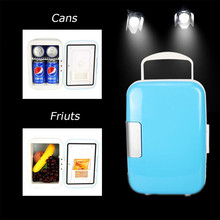 Portable 4 L/6 Cans Fridge Electric Cooler & Warmer AC/DC For Car, family Cooling Heating Refrigeration Storage Cabinet Freezer