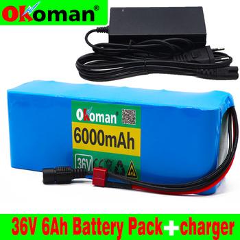 Bateria 36V 10S3P 6Ah 18650 bateria litowa 500W bateria o dużej mocy 42V 6000mAh Ebike rower elektryczny BMS + 42v ładowarka tanie i dobre opinie Okoman Rohs CN (pochodzenie) less than 2kg 182 * 68 * 62mm 36V 6Ah Mp3 mp4 Li-ion for 36v electric bike battery Used to replace 36v device battery