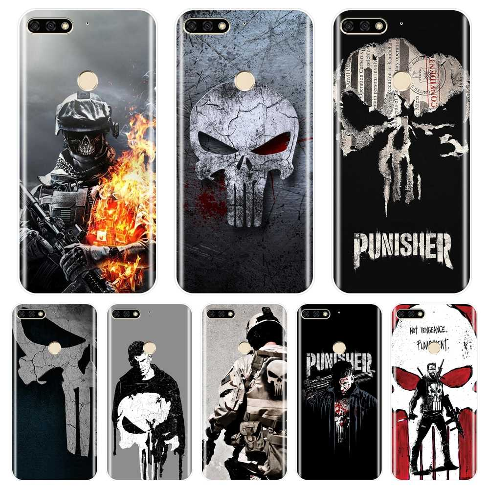 Punisher Back Cover For Huawei Honor 10 9 8 8X MAX Soft Silicone Case For Huawei Honor 7 8 9 10 Lite 7S 7X 7A 7C Pro Phone Case