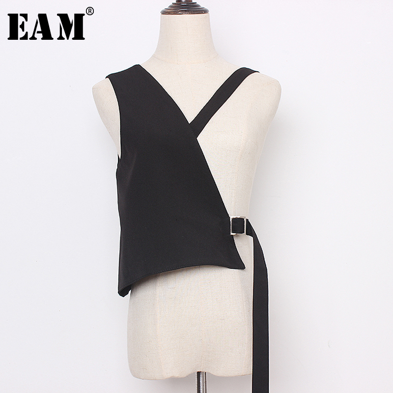 [EAM] Women Loose Fit Balck  Asymmetrical Bandage Vest New V-collar Sleeveless   Fashion Tide Spring Autumn 2020 19A-a483