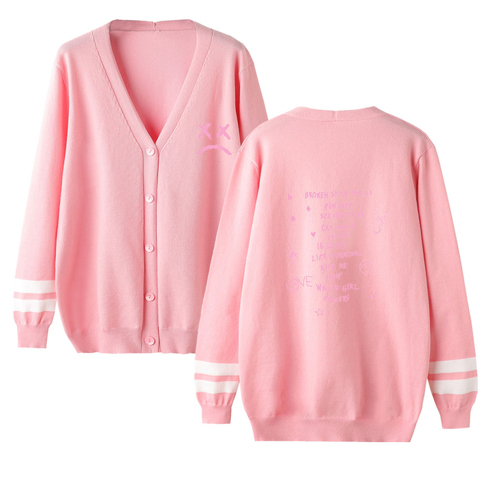 Lil Peep V-neck Cardigan Sweater Men/women Aikooki New Fashion Pink Casual Harajuku Sweater Lil Peep Popular Sweater Casual Top