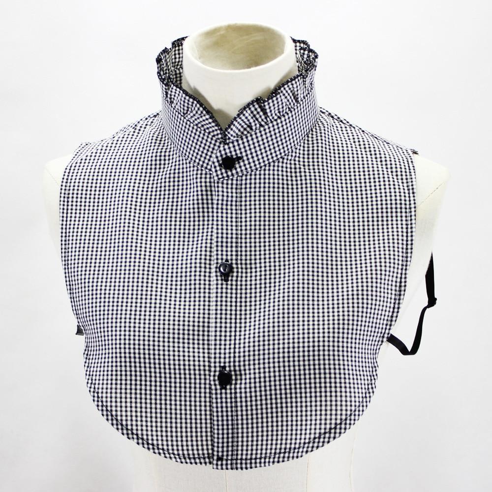 Black And White Small Lattice Shirt Women Sweater Loose Coat Decoration Round Neck Fake Collar Detachable New Free Shipping