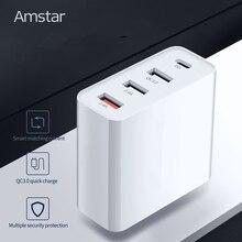 Amstar 48W 멀티 빠른 충전 3.0 USB C PD 충전기 아이폰 11 XS XR X 삼성 10 10 + 9 화웨이 태블릿 QC 3.0 빠른 벽 충전기