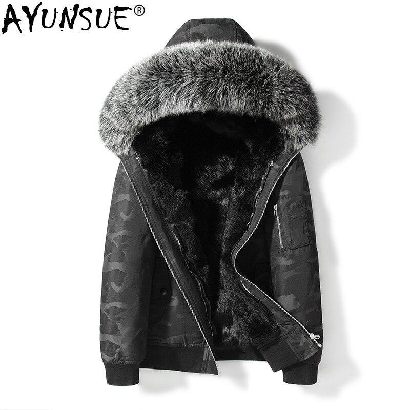 AYUNSUE Winter Parka Real Fur Coat Men Hooded Fox Fur Collar Short Winter Jackets Natural Rabbit Fur Liner Parkas 19885 KJ3450