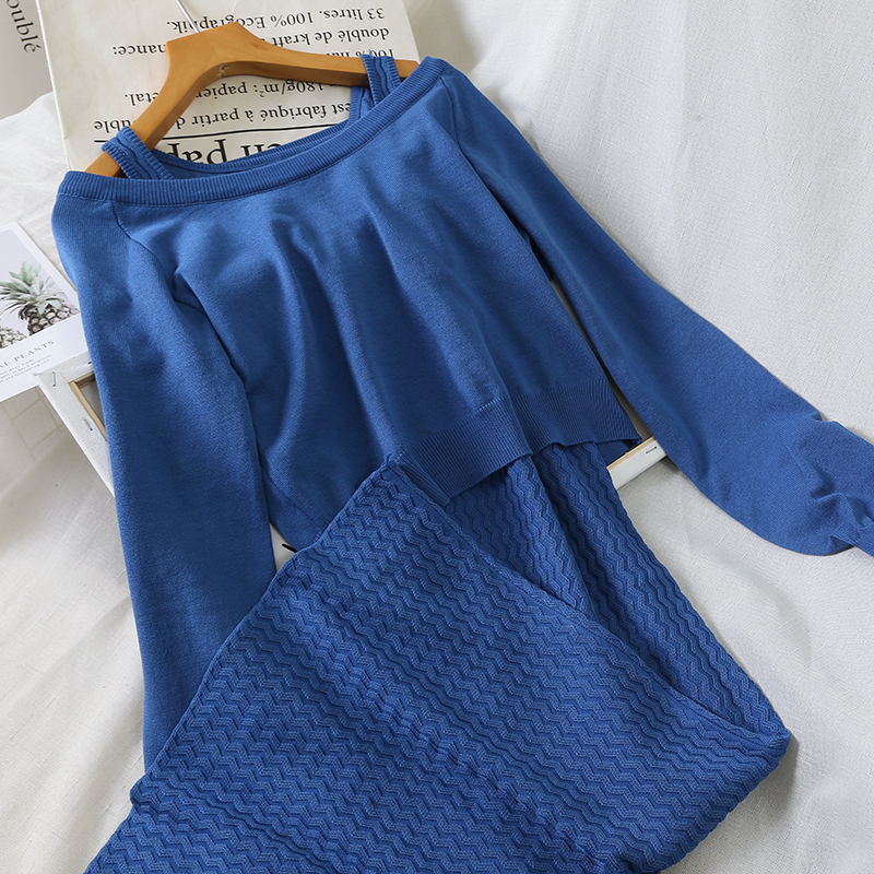 Two pieces Set Autumn Winter Women Tank Swaeter Dress + Long Sleeve Sweater Sets Female Long Knitted Dress Suits Vestidos AB1662