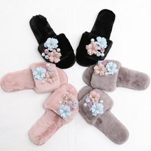 Women Flower House Slippers  Winter Indoor Woman Slip On Flats Slides 2020 New Fur Wholesale