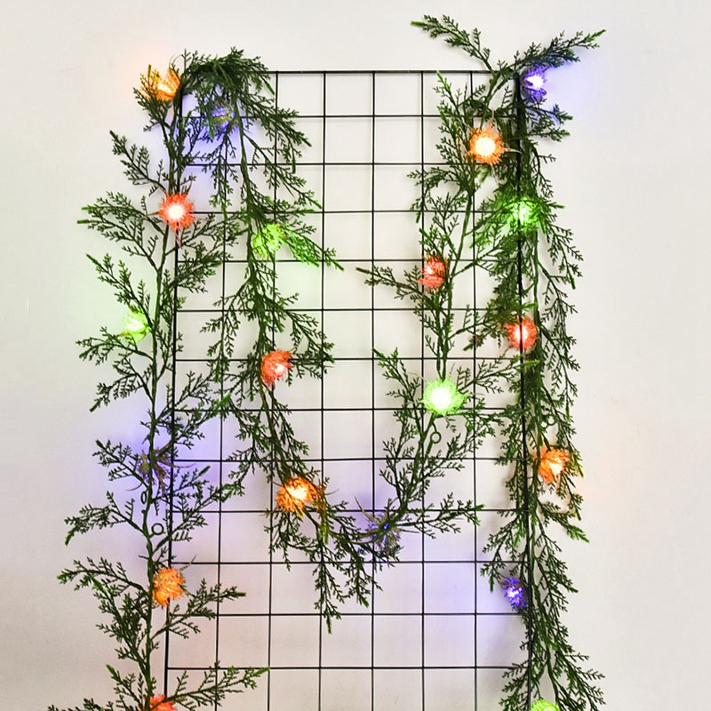 Solar Light-String Simulation Green Leaf Cane LED Copper String Lights Christmas Decoration Lamp DIY Wreath