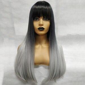 Image 5 - ארוך ישר שיער שחור עם פוני סינטטי פאות לנשים אפריקאי אמריקאי טבעי יומי שיער פאות חום סיבים עמידים