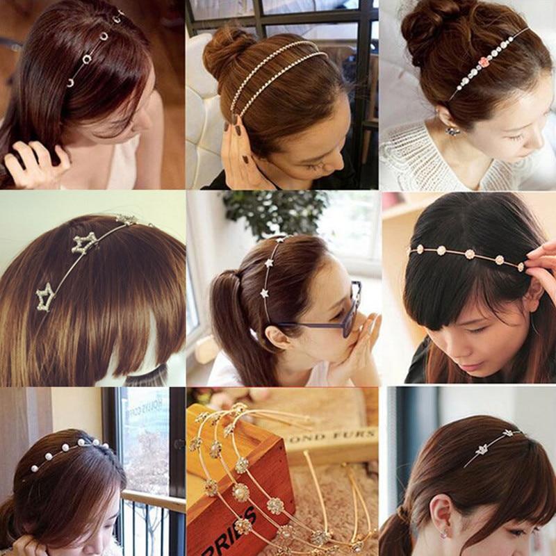 Hot Colorful Korea Rhinestone Pearl Flower Leaf Hair Hoop Headband Hairband For Women Girls Bezel Hair Band Hair Accessories
