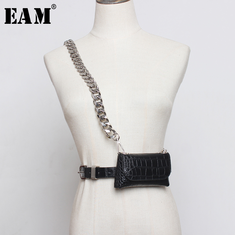 [EAM]  Pu Leather Bukle Chain Split Min-bag Long Wide Belt Personality Women New Fashion Tide All-match Spring 2020 1N845