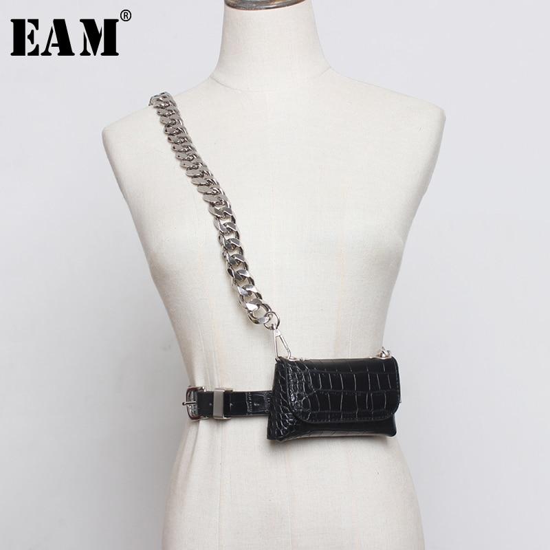 [EAM]  Pu Leather Bukle Chain Split Min-bag Long Wide Belt Personality Women New Fashion Tide All-match Spring 2020 1N845