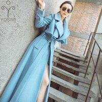YOSIMI 2019 Autumn Winter Coats Women Maxi Full Sleeve Wool Long Women Coat Blue Plus Size Long Coat Famale S XXL Woolen Jackets