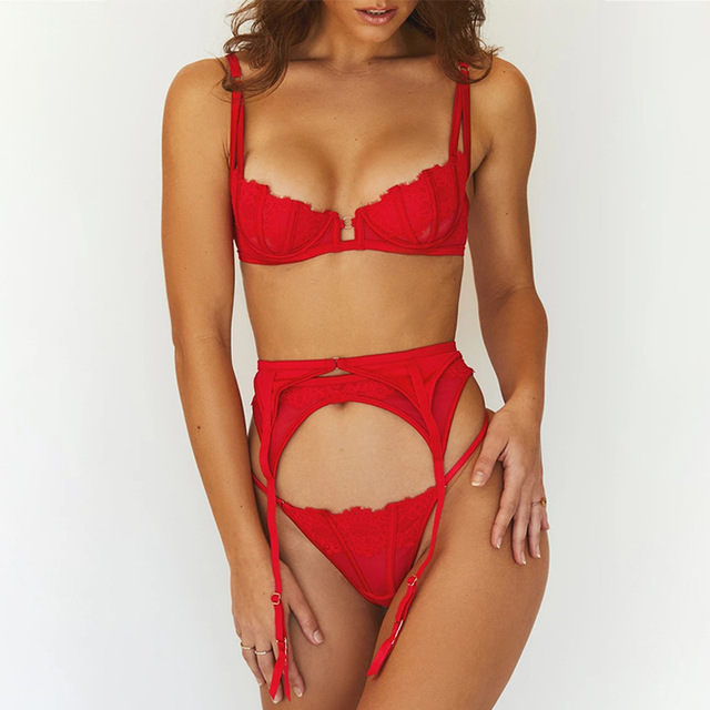 Sexy Red 3 Piece Lingerie Set  2