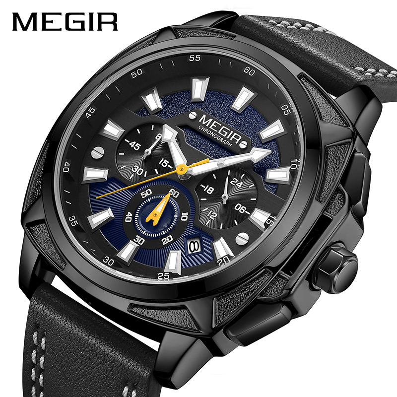 MEGIR Casual Sport Watches for Men Black Top Brand Luxury Military Leather Wrist Watch Man Clock Fashion Chronograph Wristwatch