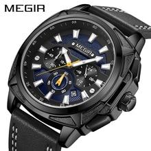 Megir カジュアルスポーツは男性黒トップブランドの高級軍革腕時計男性時計ファッションクロノグラフ腕時計