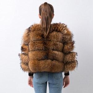 Image 3 - Розовый Java QC19102 Новое поступление Лидер продаж женские пальто с мехом из натурального меха енота меховая куртка толстые пальто с мехом короткое пальто мода