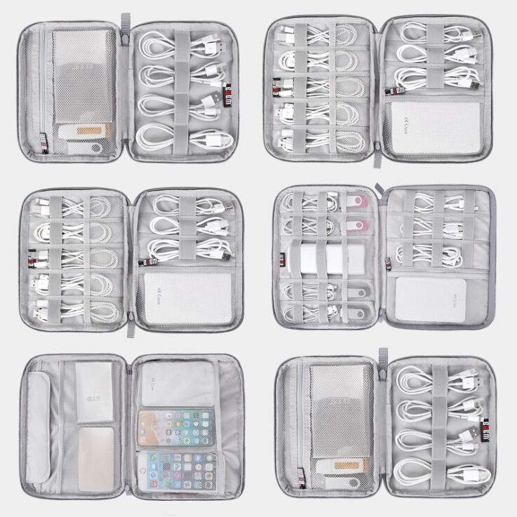 4 Size Digital Storage Bag USB Cable Organizer Earphone Wire Bag Pen Power Bank Travel Kit Case Pouch Electronics Accessories in Storage Bags from Home Garden
