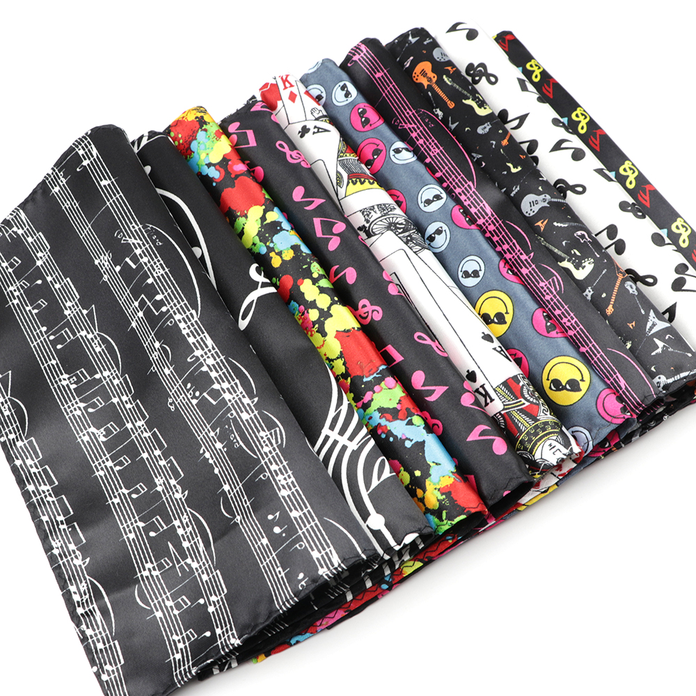 Classic Fashion Men's Handkerchiefs Colorful Musical Notes Printed Piano Guitar Polyester Pocket Square Gift Accessory Hanky