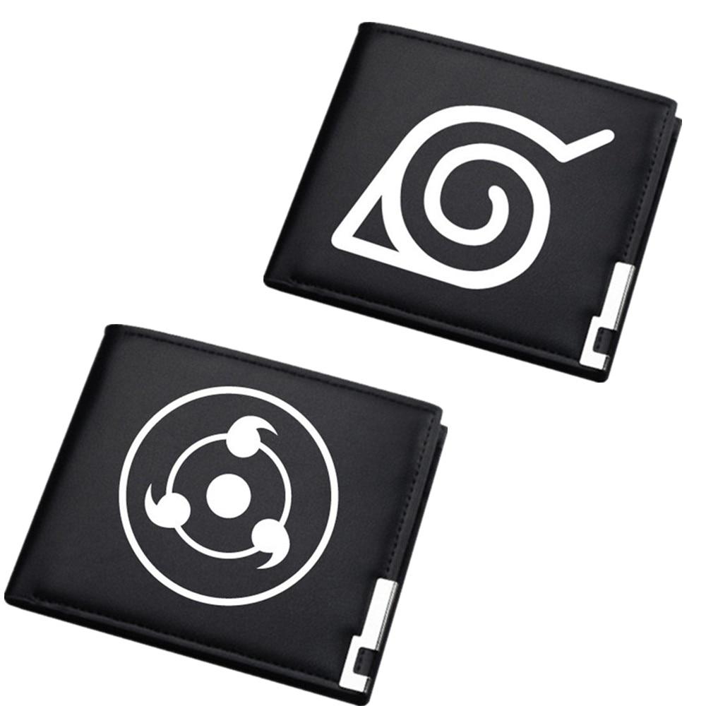 Naruto/Boruto Cartera de hombre negra corta Bi-fold PU estudiante cartera ID titular de la tarjeta de crédito/cartera con caricaturas
