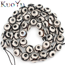 "Faceted Black Spot Tibetan Mystical Old Onyx Eye Beads For Jewelry Making Diy Charm Bracelet Pick Size 6 8 10 12m 15""Strand"