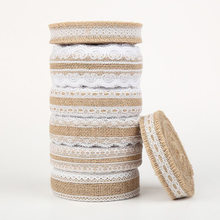 2 Meter Natural Jute Burlap Rolls Hessian Ribbon With Lace Vintage Rustic Wedding Decoration Wedding Party Favors 2.5cm