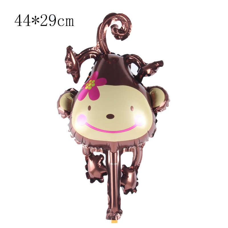 1 piezas Mini mono lindo globo de papel de aluminio de animales tigre león cebra globo boda fiesta de cumpleaños, decoración de ducha de bebé de los niños juguetes