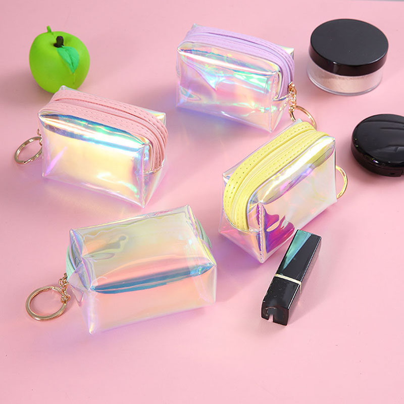 Women Small Coin Bag Fashion Laser PVC Clear Girls Wallet Purses Female Mini Money Key Coin Pouch Kid Christmas Gift