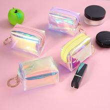 Для женщин маленький мешок для монет мода Лазерная ПВХ прозрачный
