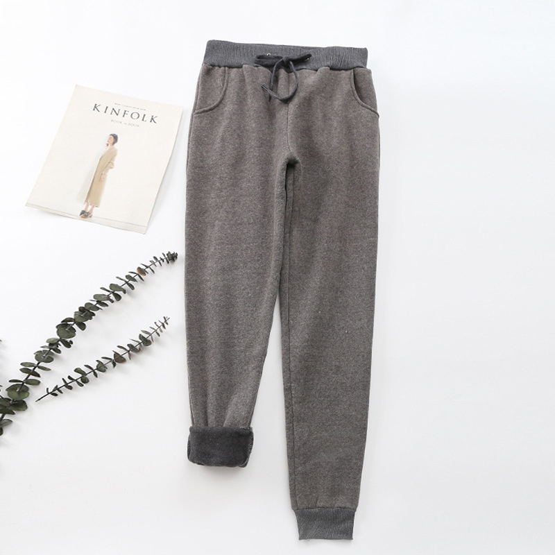 2019 Autumn Winter Thicken Sweatpants Women Casual Solid Loose Jogging Pants Warm Plus Velvet Female Trouses Pockets Homewear